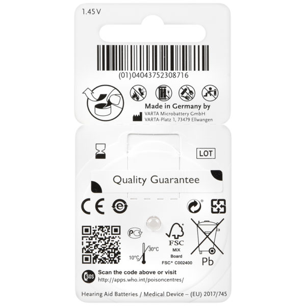power one hearing aid batteries size 13 (orange) back card