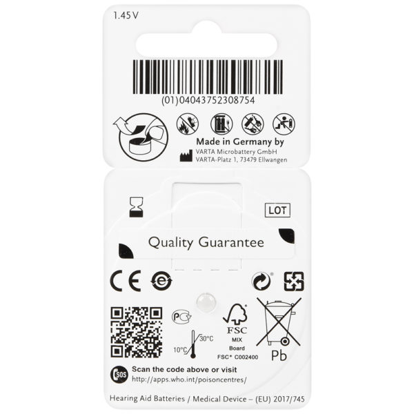 power one hearing aid batteries size 312 (brown) back card