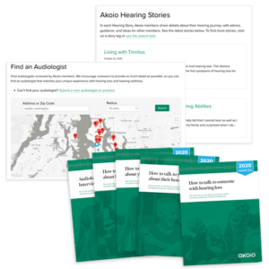 Audiologist finder, hearing stories, and how to talk about hearing loss guides exclusively for Akoio members