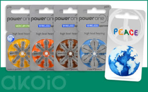 To show the different size hearing aid batteries that Akoio sells