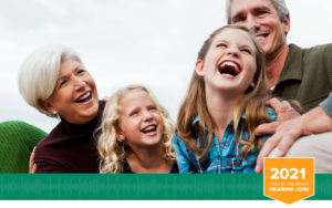 Grandparents with grandkids cover photo for 2021 Akoio How to talk to someone with hearing loss Hearing Guide